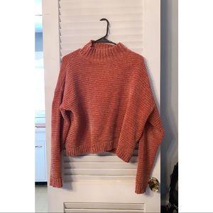 Cozy Pink Oversized Turtleneck Sweater